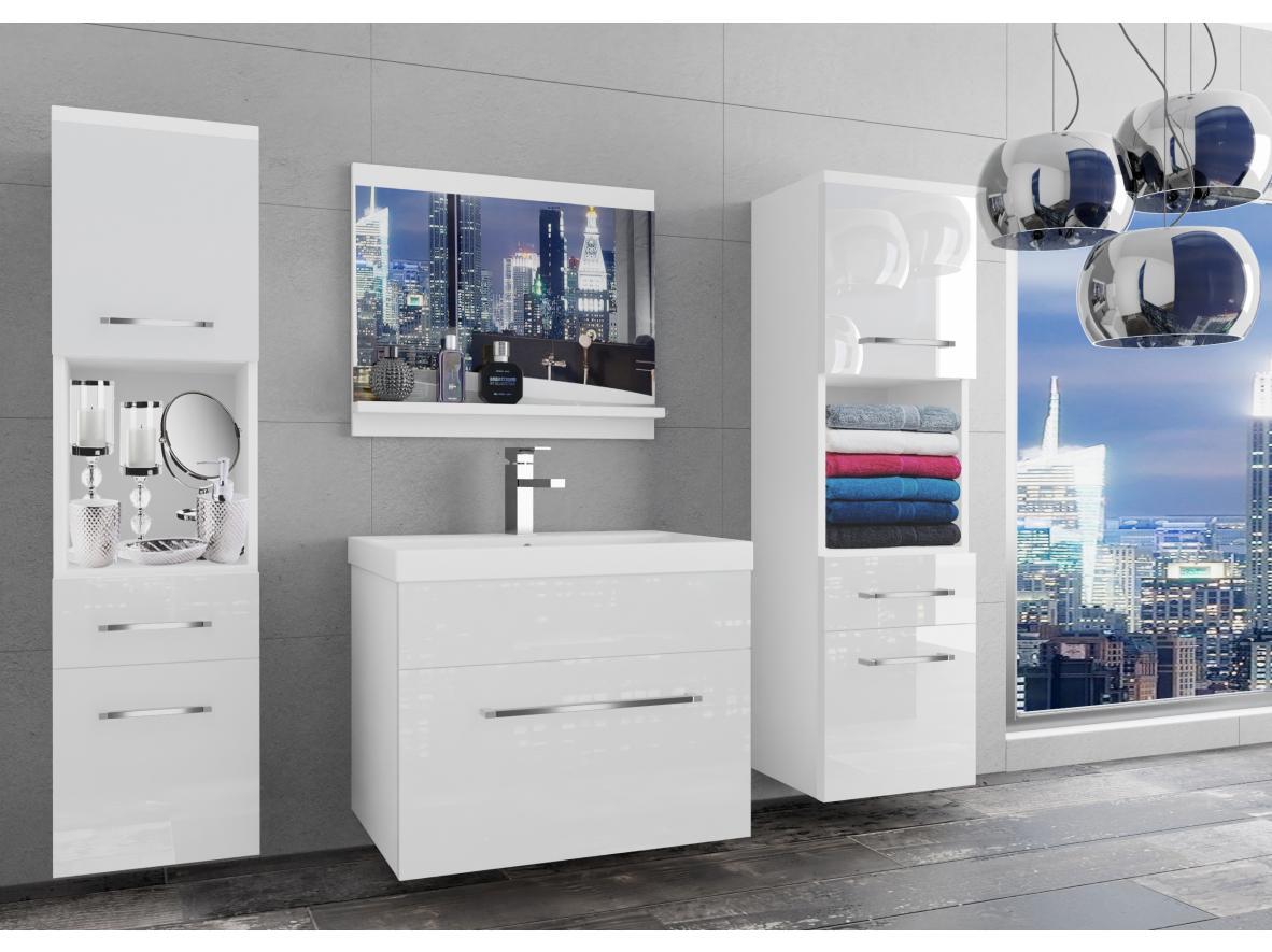 Badezimmermöbel Set Sardinien Weiss - Weiss HG