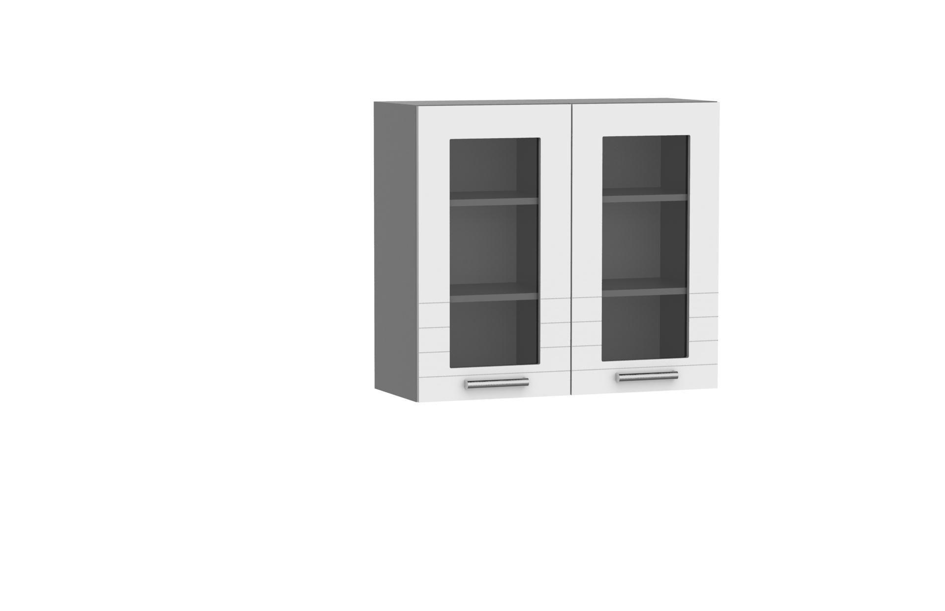 Oberschrank 80 cm / 72 cm mit Glas Paula Weiss