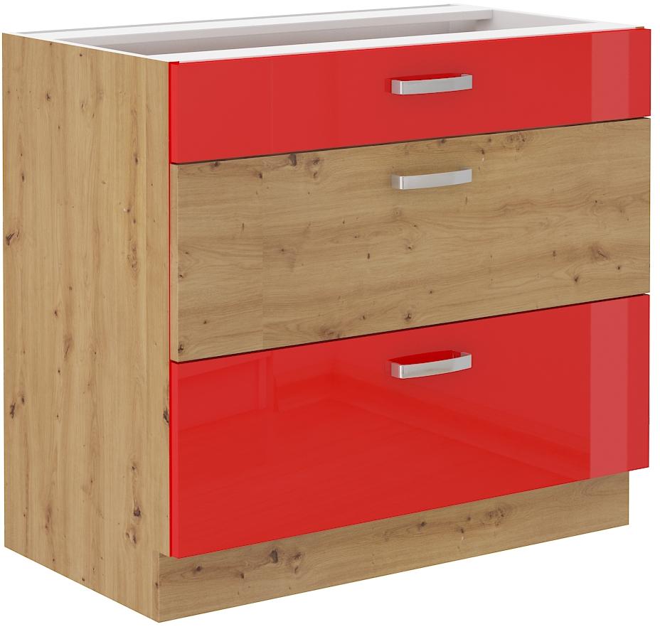 Unterschrank 80 cm mit Schubladen ARTISAN Rot HG