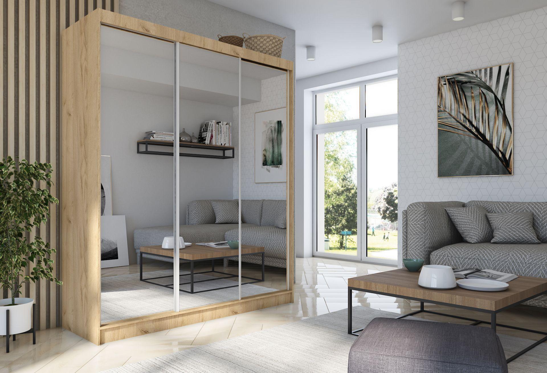 Schrank Debora 180 cm Sonoma mit Spiegel