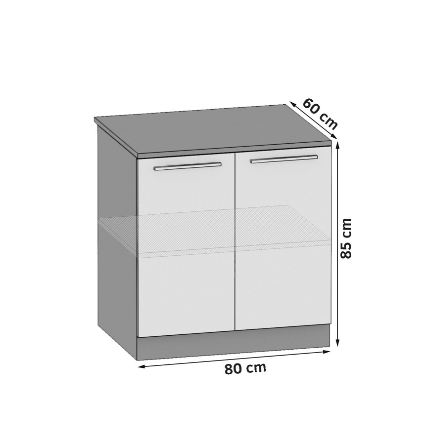 Unterschrank 80 cm mit 2 Türen