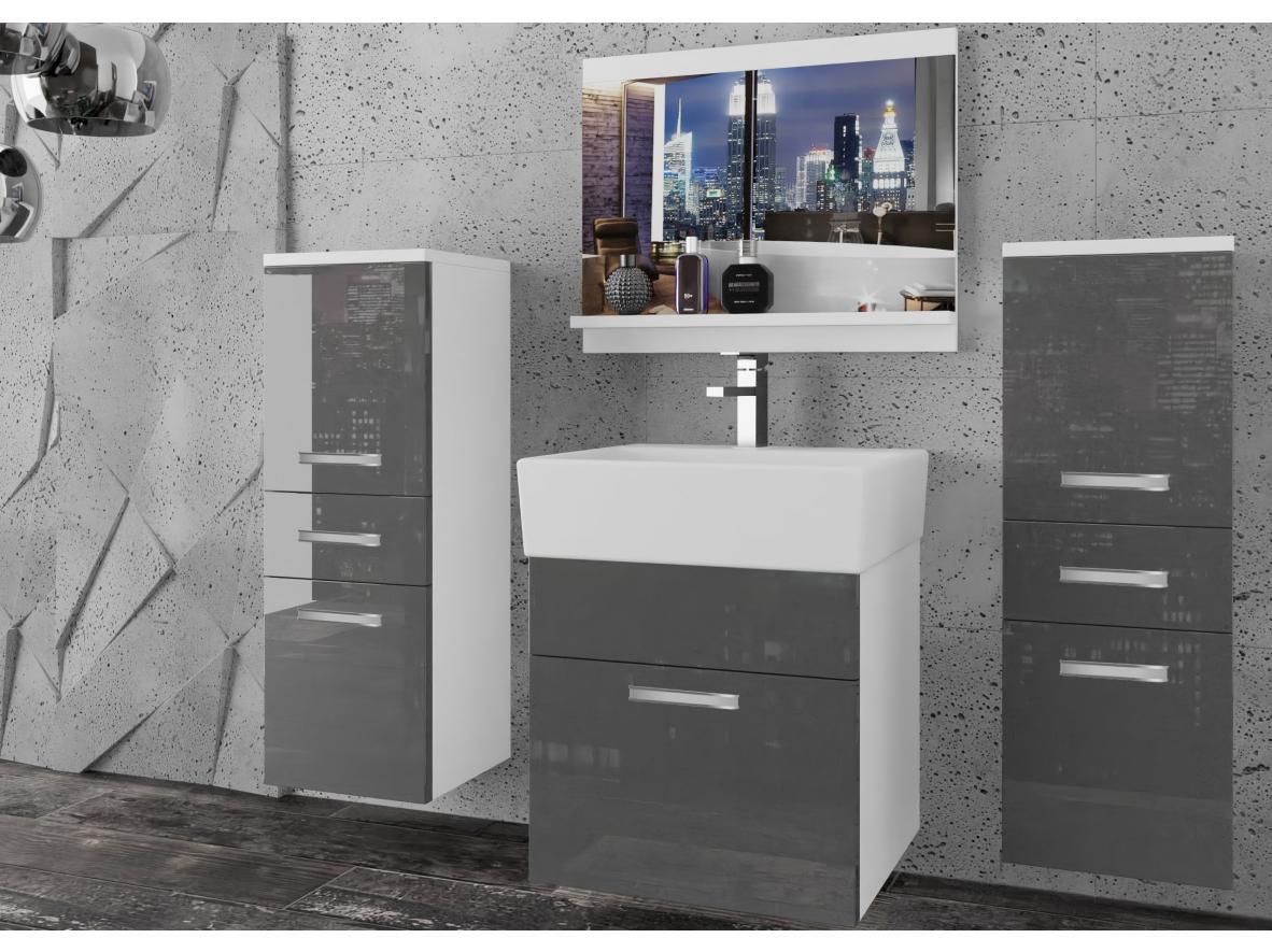 Badezimmermöbel Set Korsika Weiss - Grau HG
