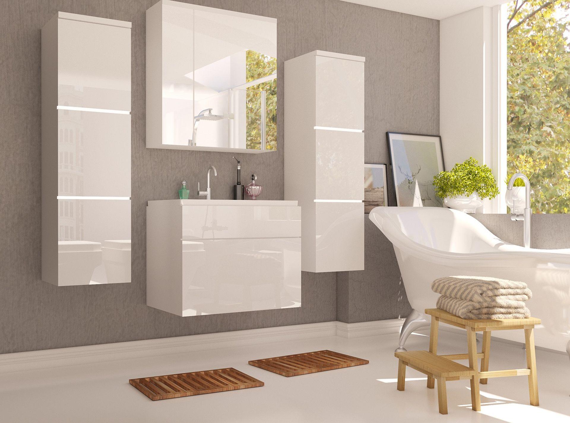 Badezimmermöbel Set Porta – Weiß Hochglanz