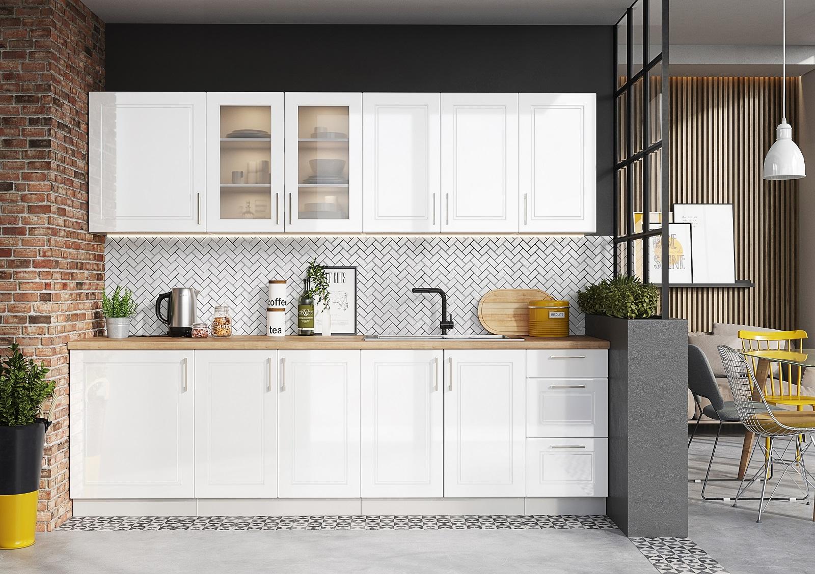 Küche Natalie 260 cm Weiß HG
