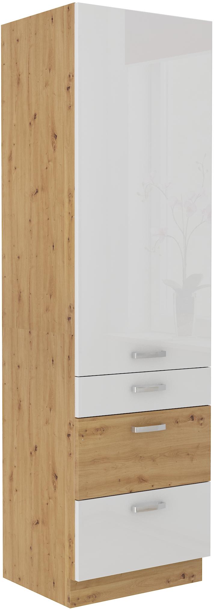 Hochschrank 60 cm mit 3 Schubladen Artisan weiß HG