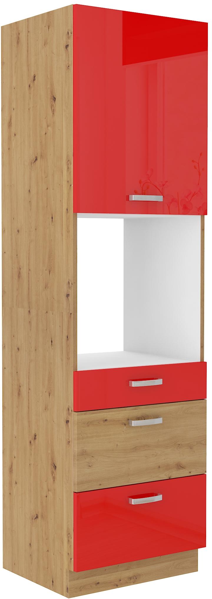 Backofenhochschrank 60 cm / 210 cm mit Schubladen ARTISAN Rot HG