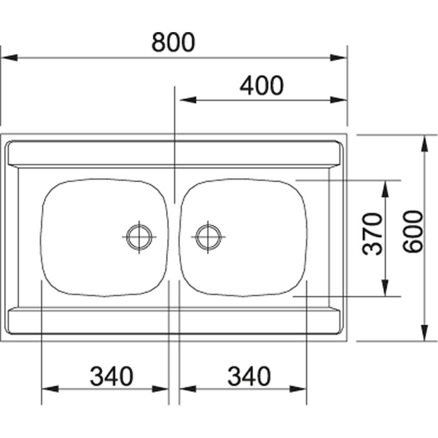 Edelstahlspüle FRANKE 80x60 cm 2-Becken