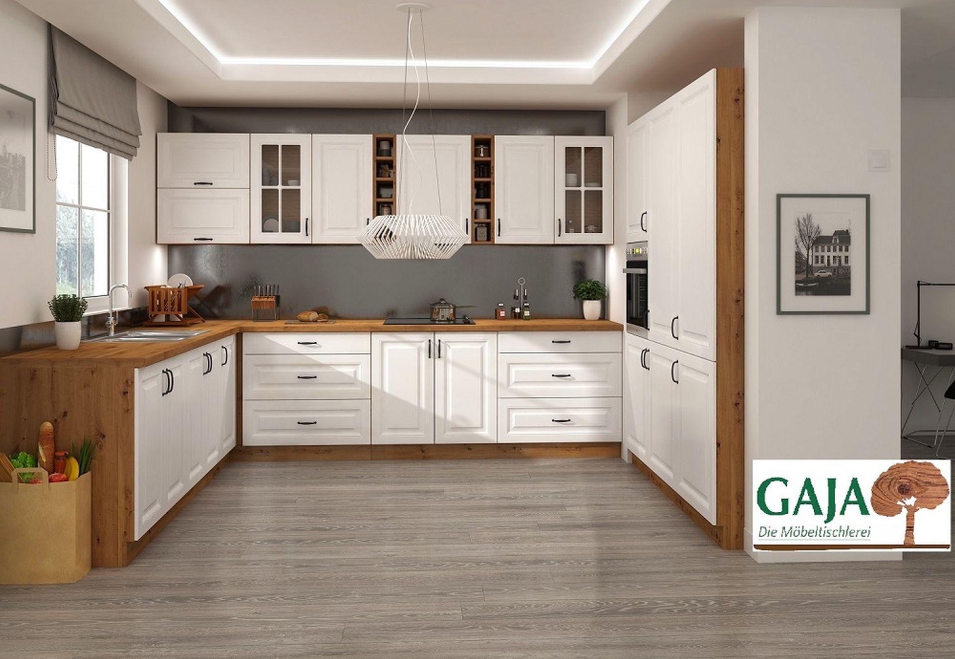 Landhausküche  weiß matt - U-Form 265/240/180 cm