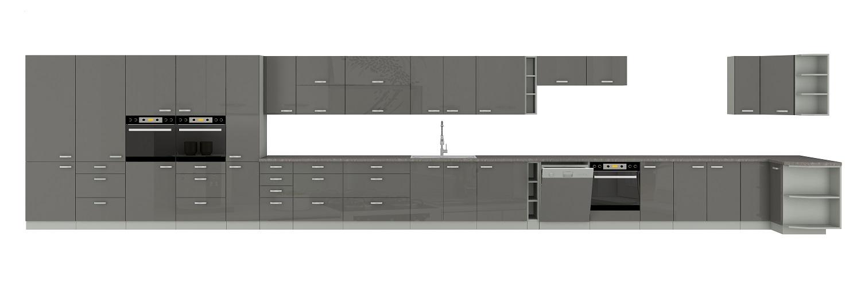 Eckküche Grey 260/270 cm Hochglanz