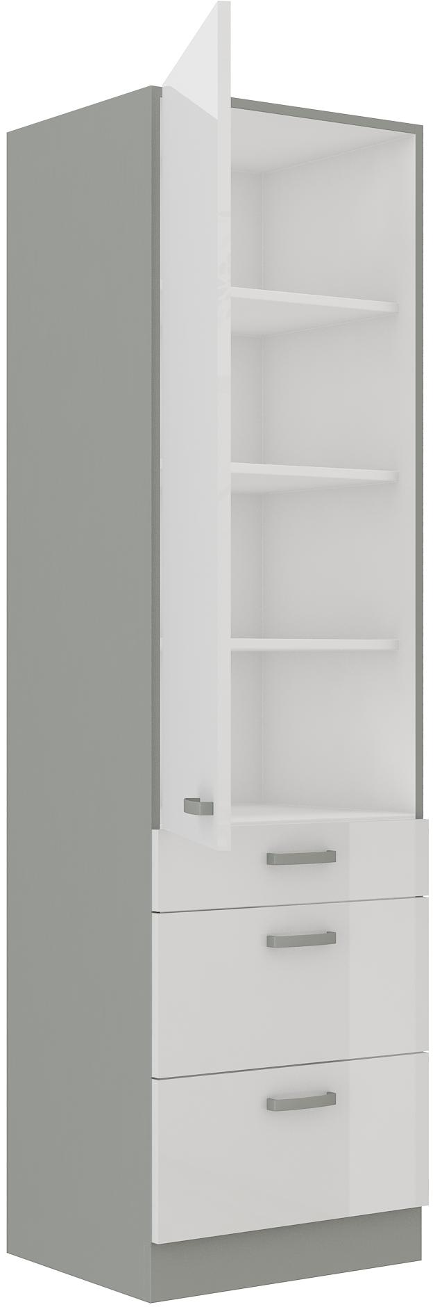 Hochschrank 60 cm / 210 cm mit Schubladen Bianca