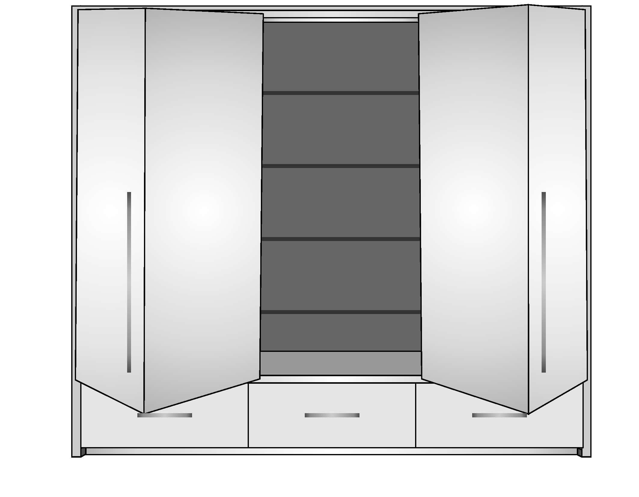Schwebetürenschrank Toledo 255 cm