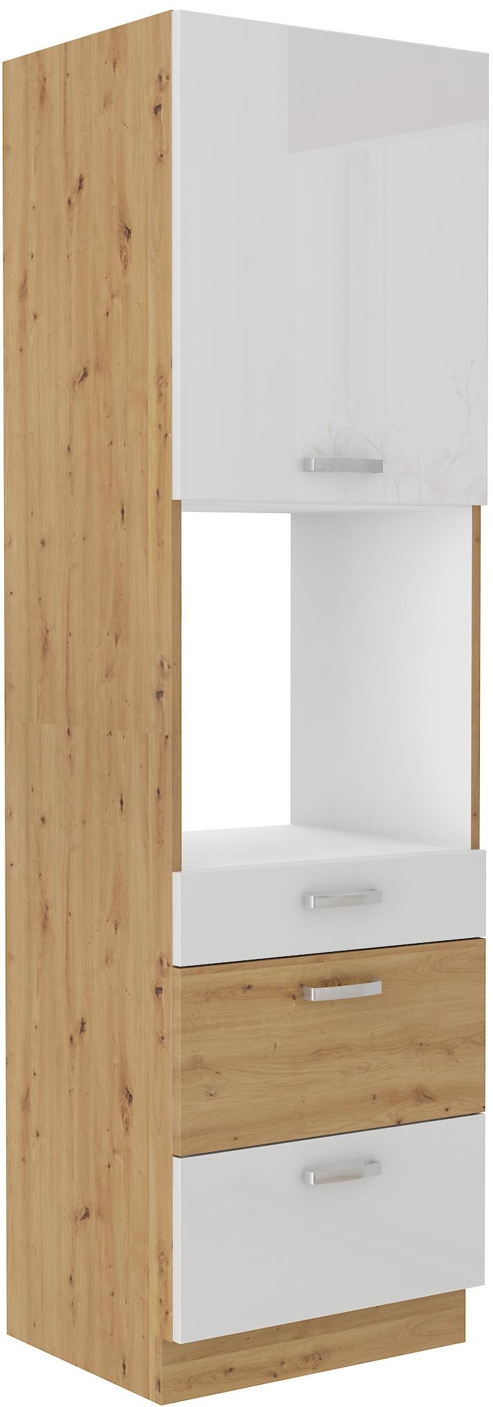 Backofenhochschrank 60 cm mit 3 Schubladen / 210 cm Artisan weiß HG
