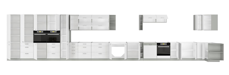 Eckküche Bianca 260/270 cm Weiß Hochglanz