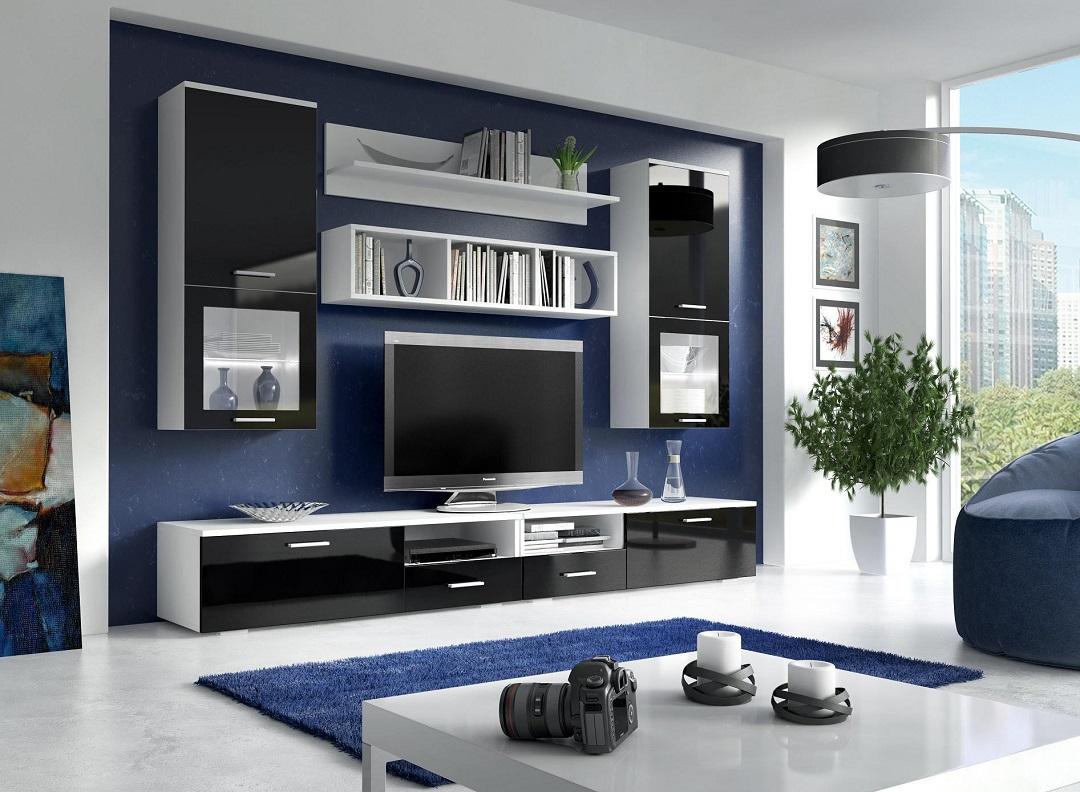 Wohnwand Franco Schwarz Hochglanz mit LED