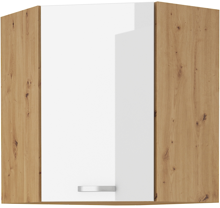 Eckoberschrank 60x60 cm / 90 cm Artisan weiß HG