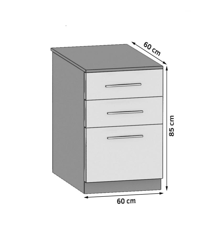 Unterschrank 60 cm mit 2 Laden und Tür