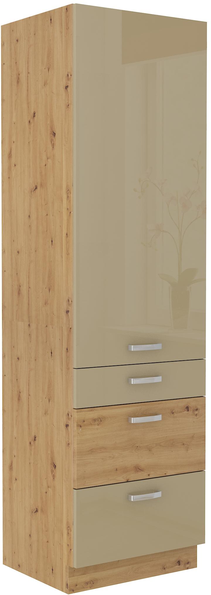 Hochschrank 60 cm / 210 cm mit Schubladen ARTISAN Cappucino HG