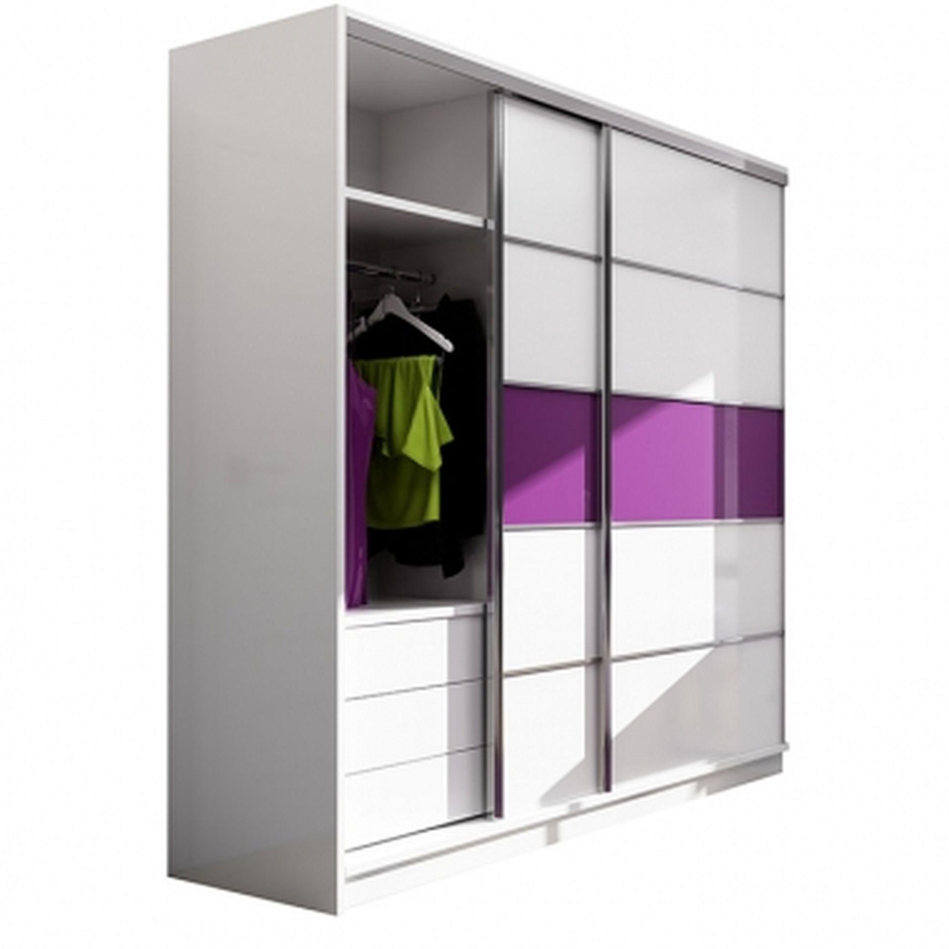 Schwebetürenschrank Dubai Weiß matt/ violettes Glas