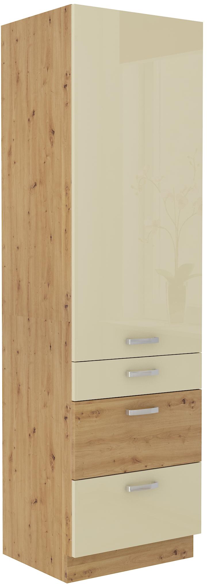 Hochschrank 60 cm / 210 cm mit Schubladen ARTISAN Creme HG
