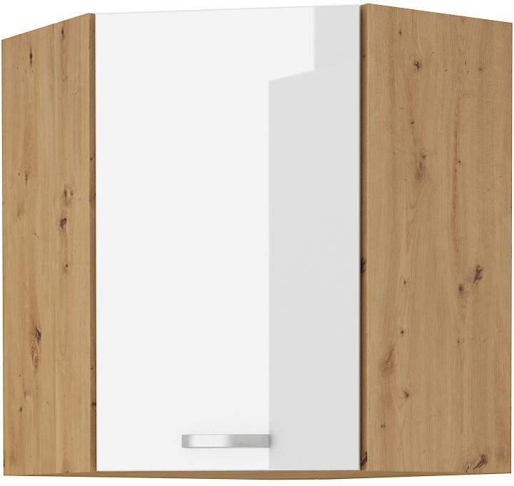Eckoberschrank 60x60 cm / 72 cm Artisan weiß HG