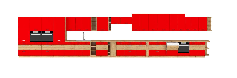 Eckküche Artisan 275/170 cm Rot Hochglanz – Eiche