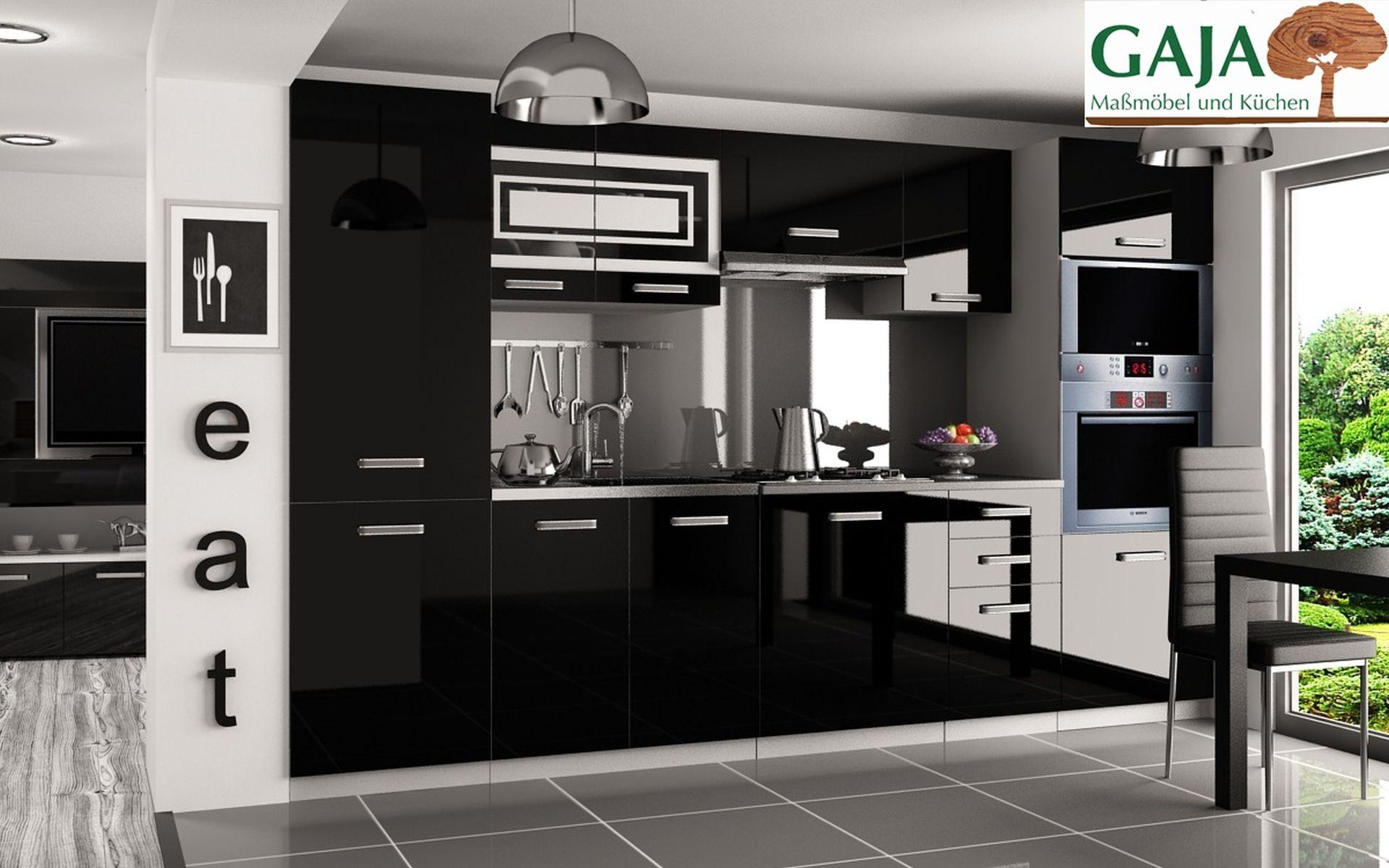 Küche 300 cm Schwarz Hochglanz mit Hochschrank f. Ofen und Kühlschrank