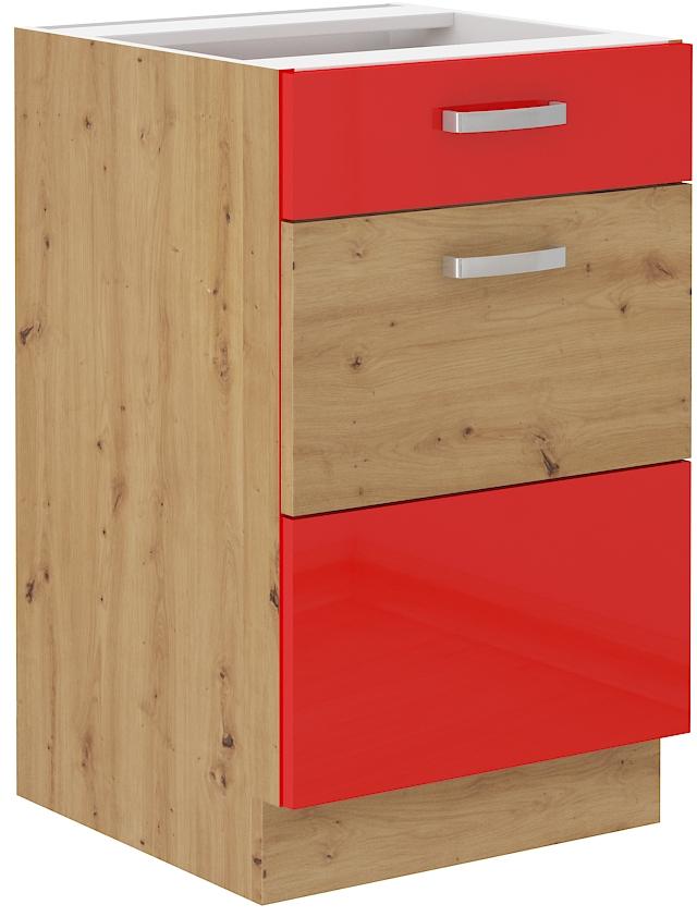 Unterschrank 50 cm mit Schublade ARTISAN Rot HG