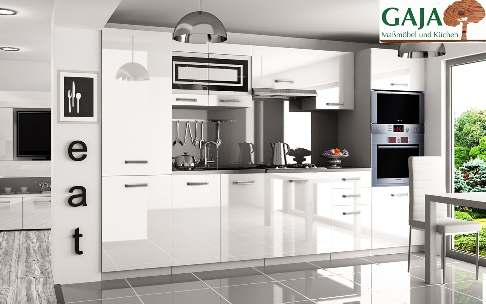 Küche 300 cm Weiß Hochglanz mit Hochschrank f. Ofen und Kühlschrank