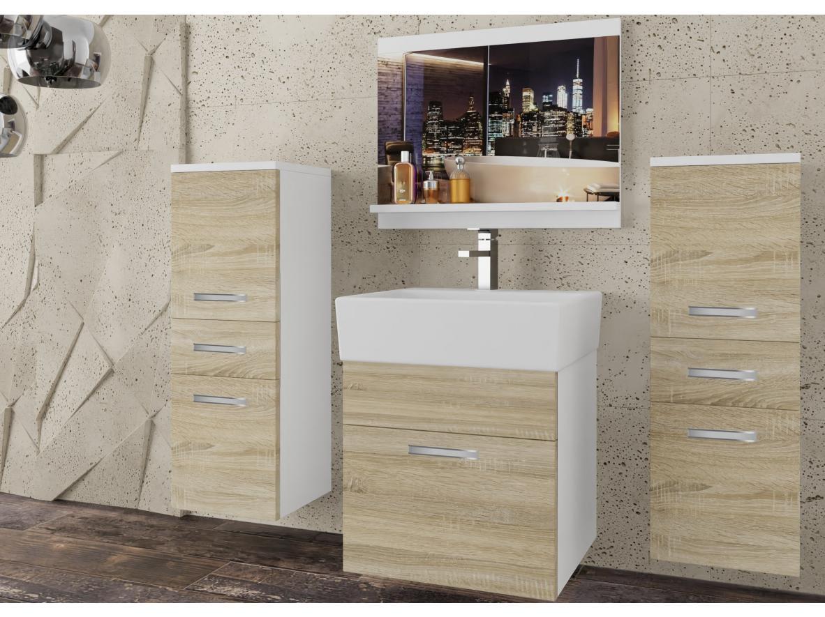 Badezimmermöbel Set Korsika Weiss - Eiche Sonoma