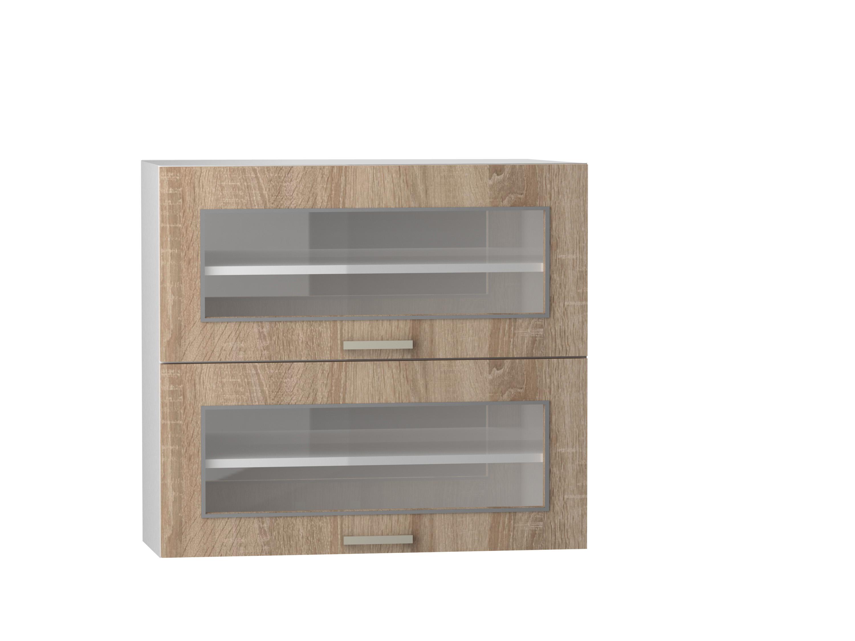 Oberschrank 80 cm / 72 cm mit klappbaren Glasvitrinen Angelika