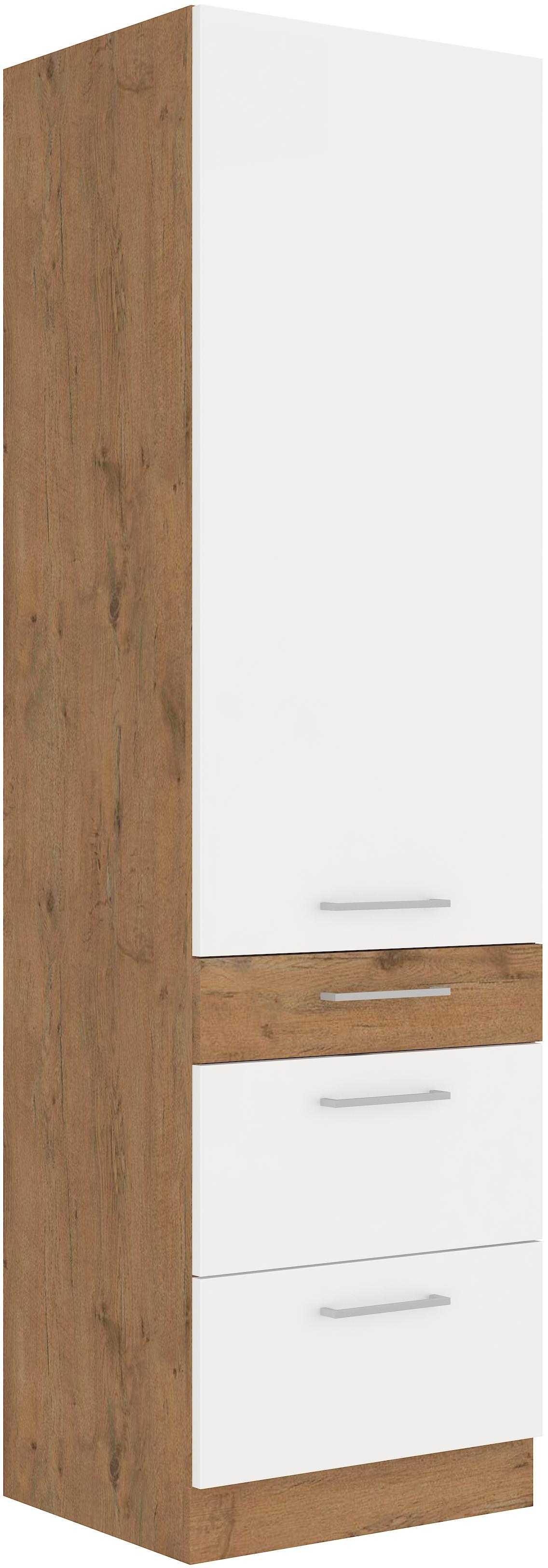 Hochschrank 60 cm / 210 cm mit Schubladen VIGO Weiss HG