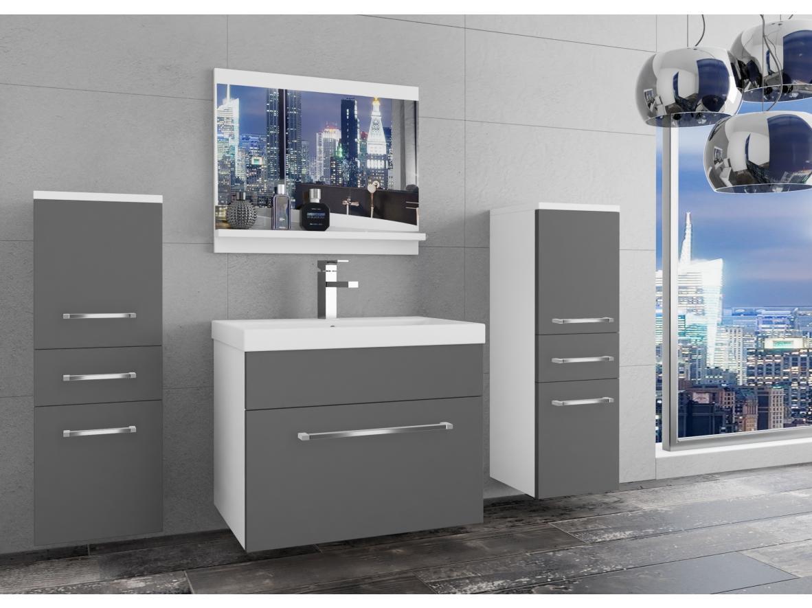 Badezimmermöbel Set Sardinien Weiss - Grau Matt