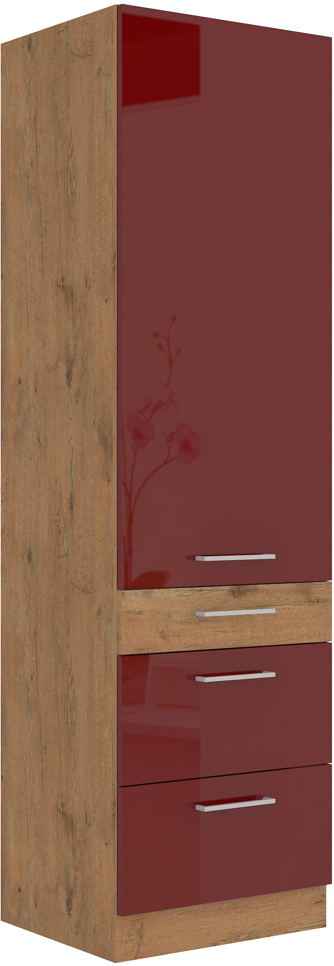 Hochschrank 60 cm / 210 cm mit Schubladen Vigo Weinrot HG