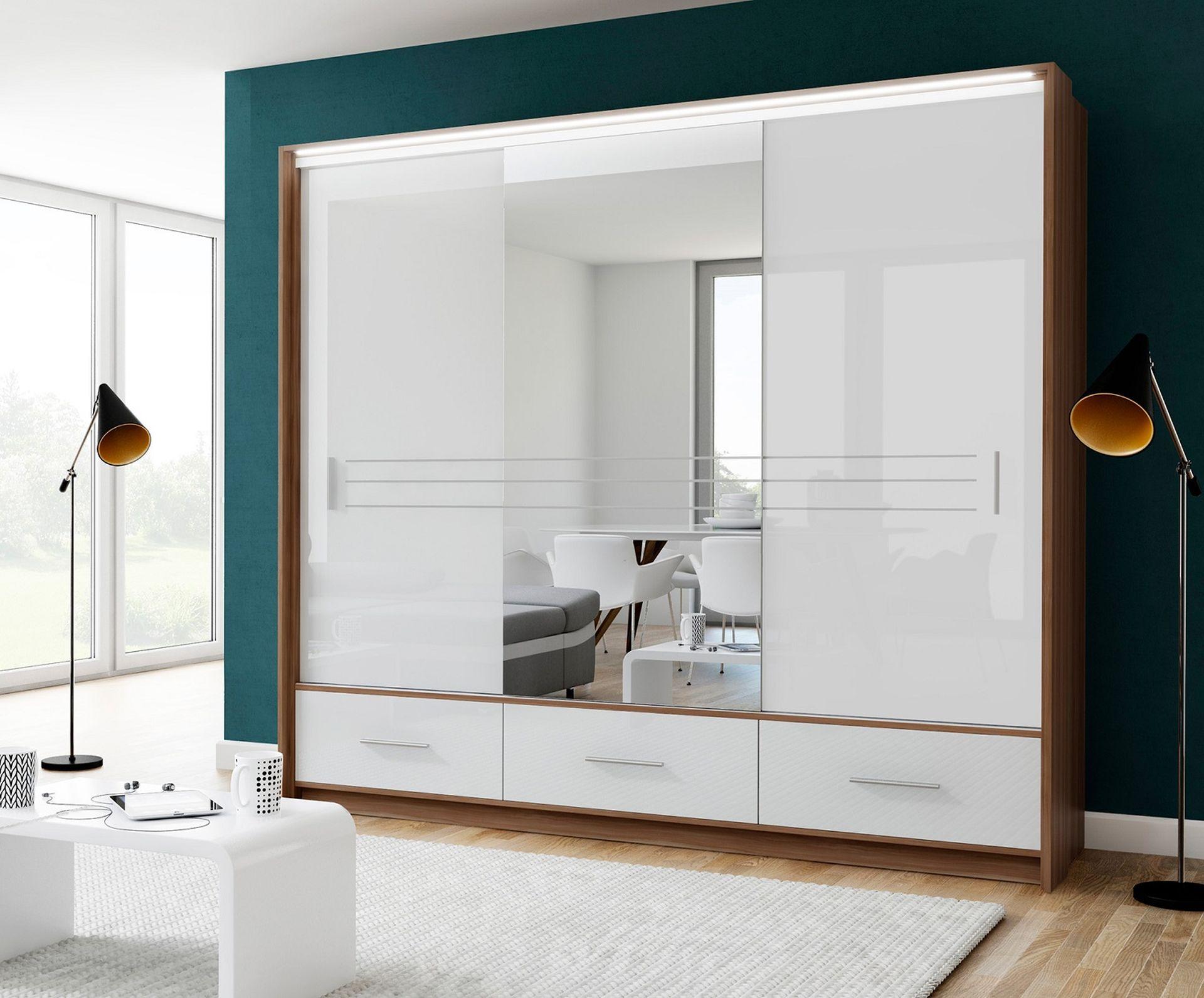 Schwebetürenschrank Amsterdam 250 Weiß HG-Spiegel