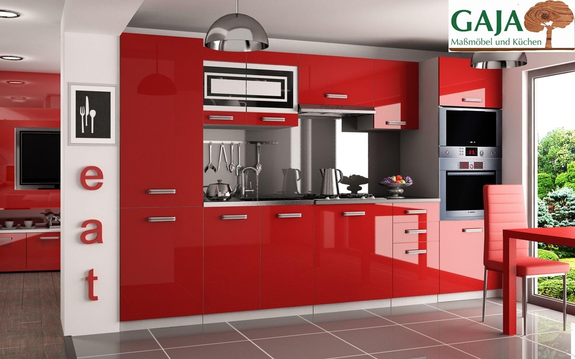 Küche 300 cm Rot Hochglanz mit Hochschrank f. Ofen und Kühlschrank