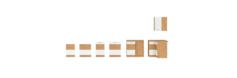 Eckküche Artisan 275/170 cm Weiß Hochglanz – Eiche
