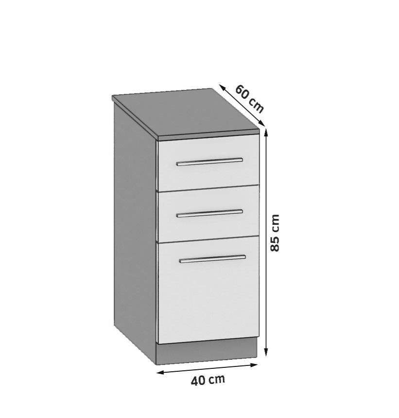 Unterschrank 40 cm mit 2 Laden und Tür