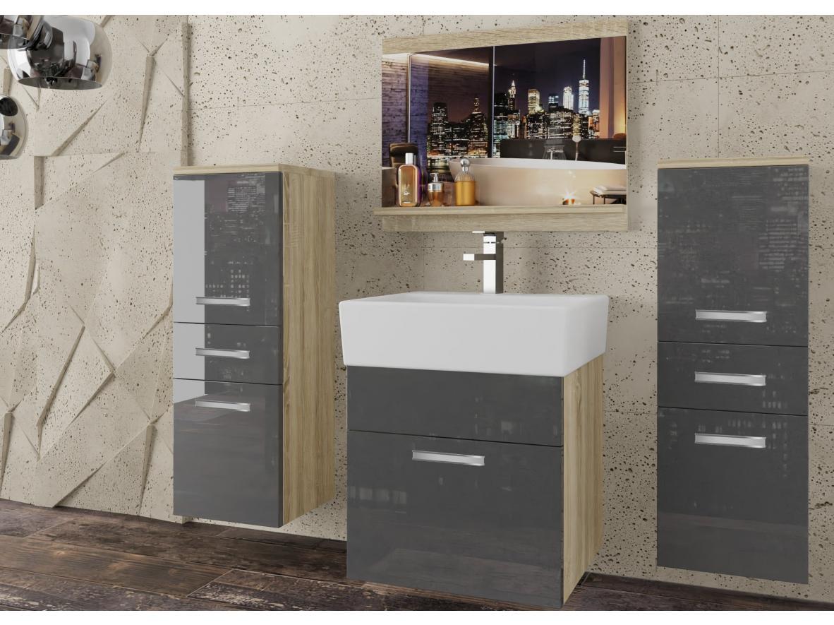 Badezimmermöbel Set Korsika Eiche Sonoma - Grau HG