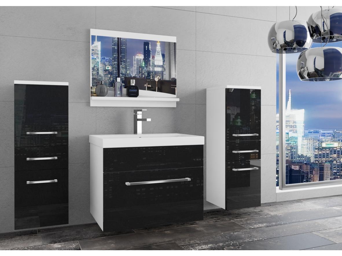 Badezimmermöbel Set Sardinien Weiss - Schwarz HG