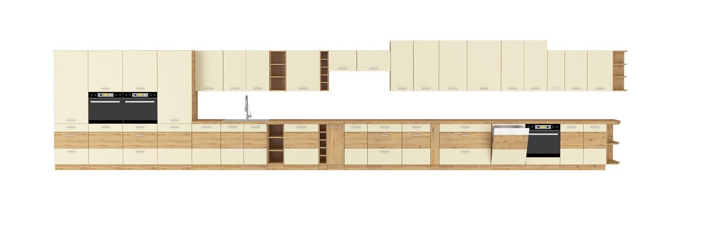 Eckküche Artisan 275/170 cm Creme Hochglanz – Eiche