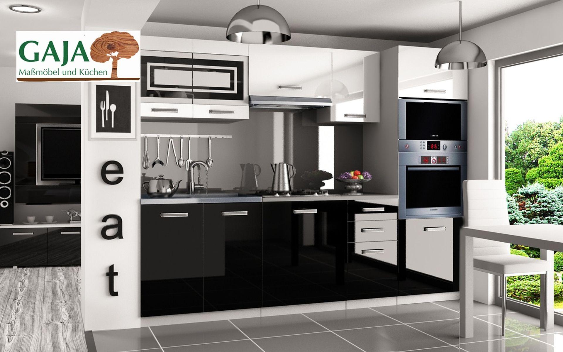 Küche 240cm Schwarz-Weiß Hochglanz mit Hochschrank für Ofen