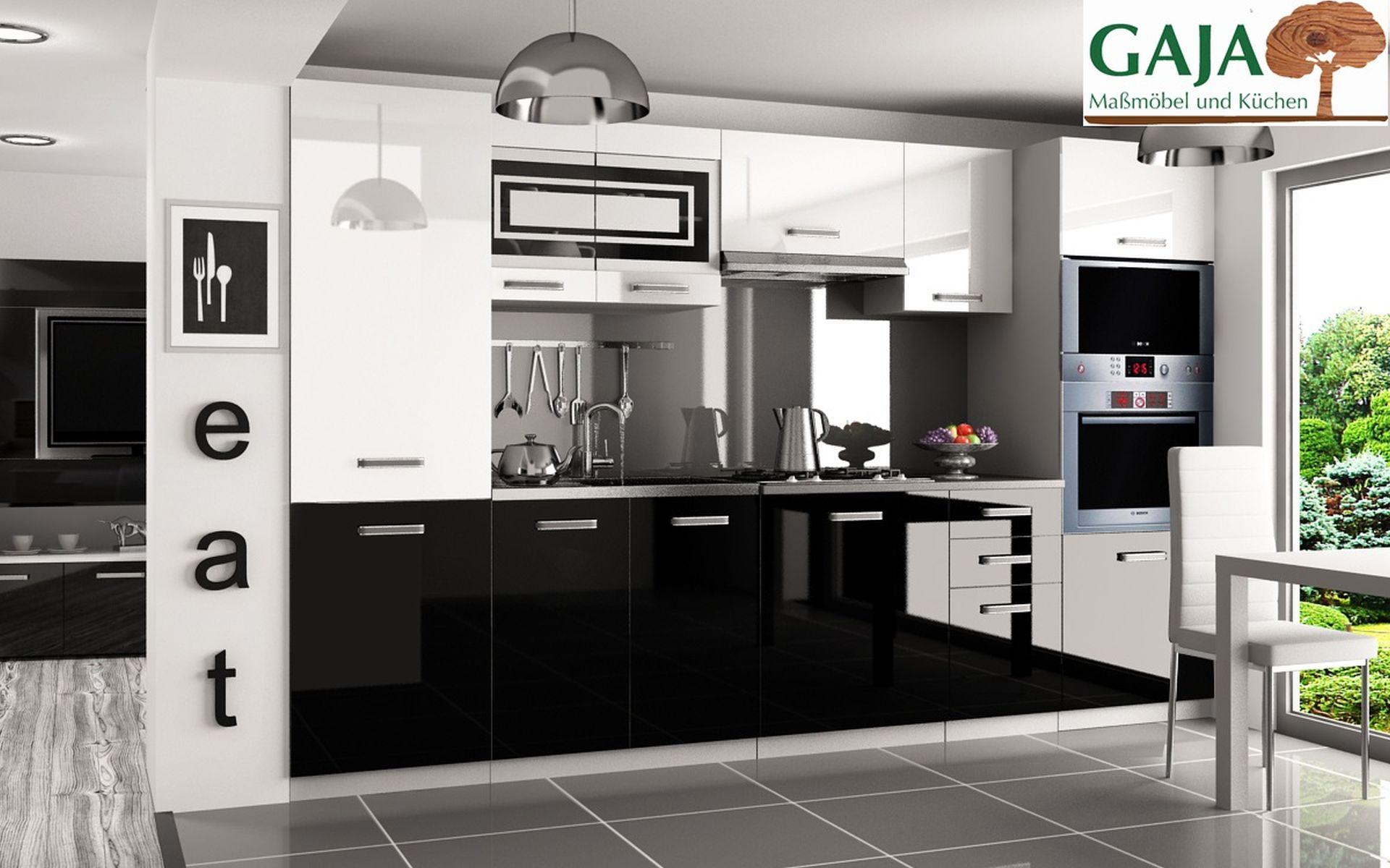 Küche 300 cm Schwarz-Weiß Hochglanz mit Hochschrank f. Ofen und Kühlschrank
