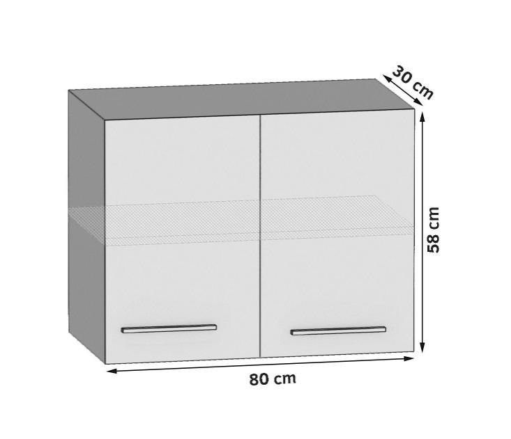 Oberschrank 80 cm mit 2 Türen