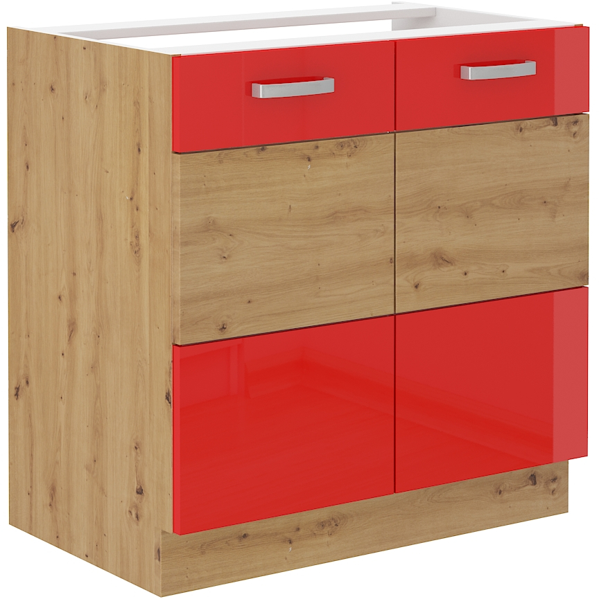 Spülenunterschrank 80 cm ARTISAN Rot HG