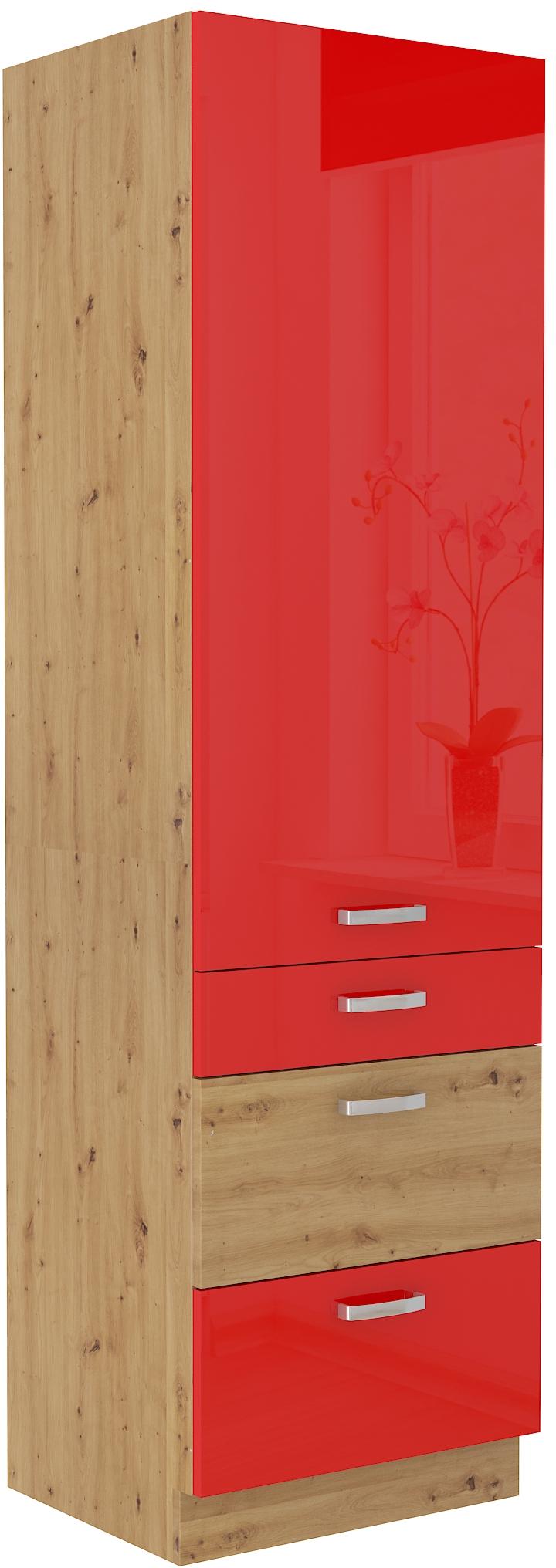 Hochschrank 60 cm / 210 cm mit Schubladen ARTISAN Rot HG
