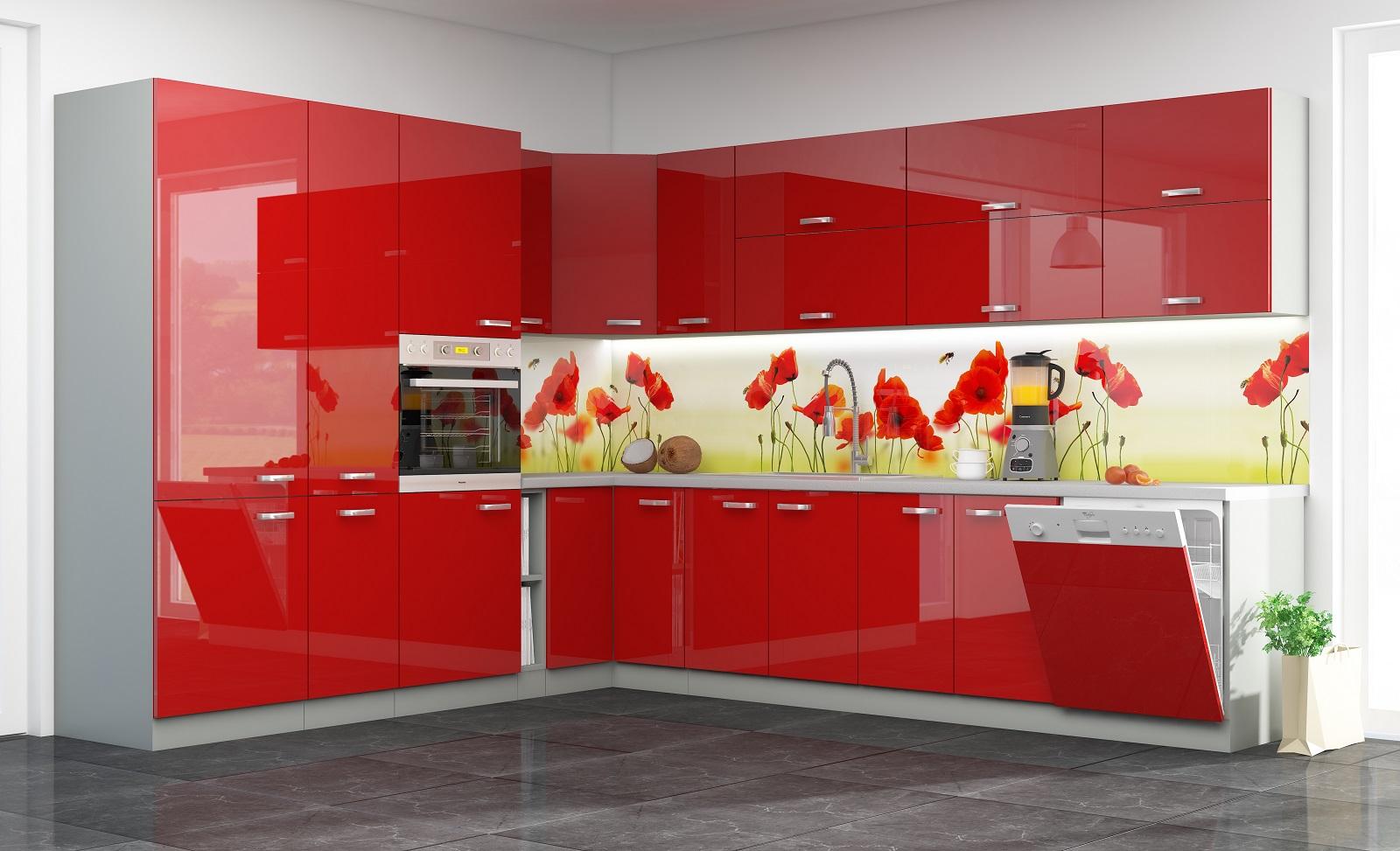 Eckküche Rose 260/250 cm Rot Hochglanz