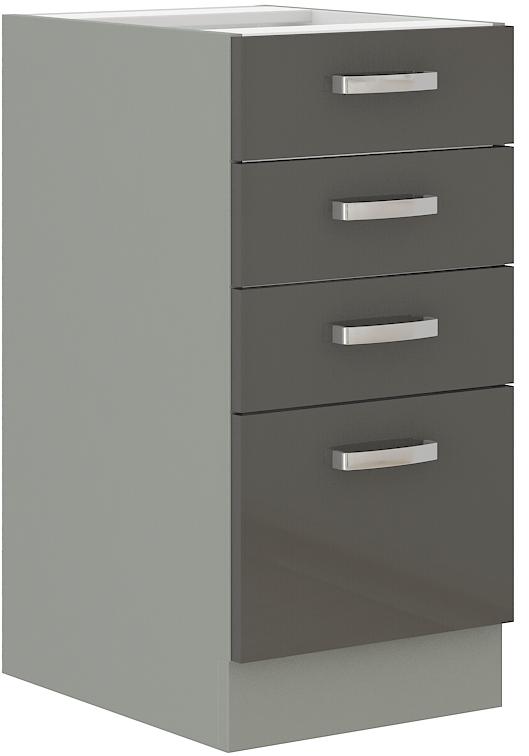 Unterschrank 40 cm mit 4 Schubladen Grey