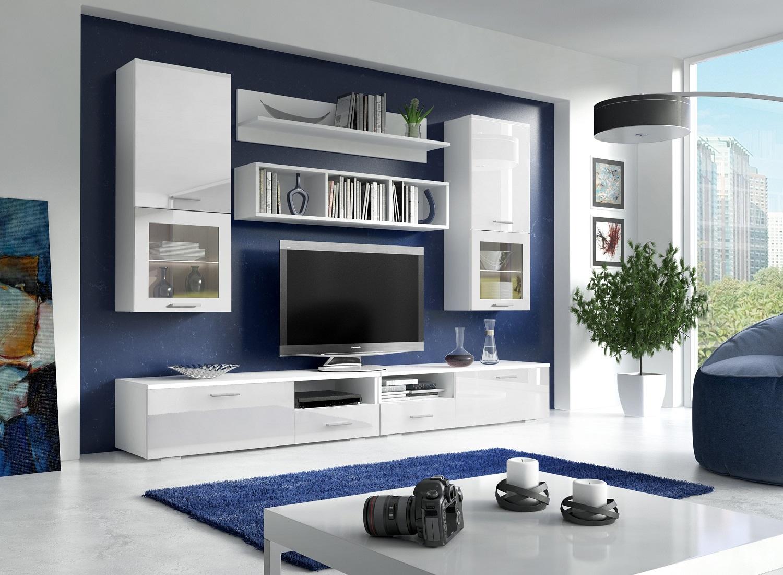 Wohnwand Franco Weiß Hochglanz mit LED